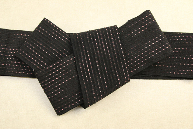 近賢織物 和紙 角帯 流星 黒×ピンク