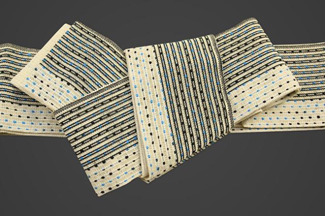 近賢織物 和紙 角帯 流星 ツートーン 生成り色×黒