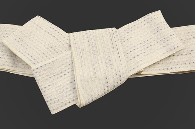 近賢織物 和紙 角帯 流星 生成り色×灰
