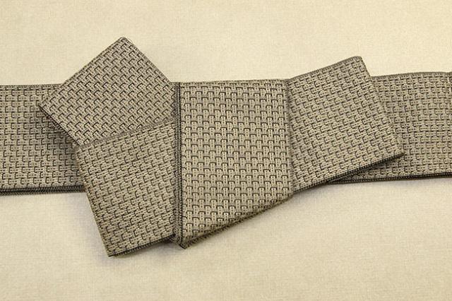 米沢織 近賢織物 角帯 織模様 金茶