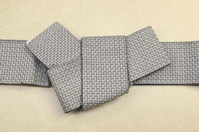 米沢織 近賢織物 角帯 織模様 シルバー