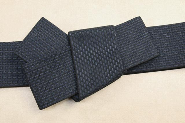 米沢織 近賢織物 角帯 織模様 紺