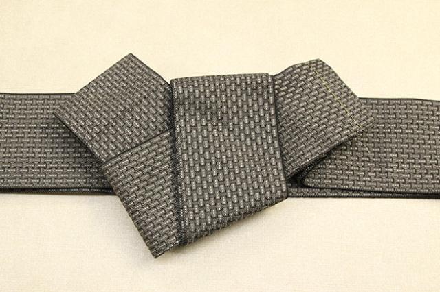 米沢織 近賢織物 角帯 織模様 茶