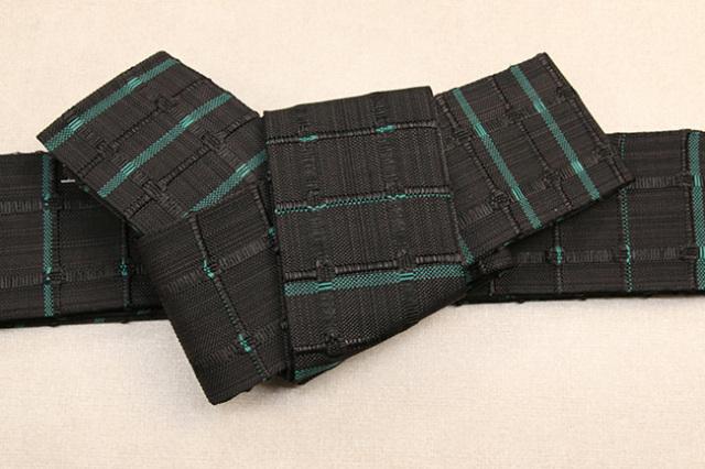 米沢織 近賢織物 角帯 紙格子角帯 黒×緑