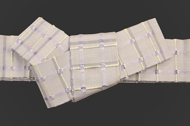 米沢織 近賢織物 角帯 紙格子角帯 藤色