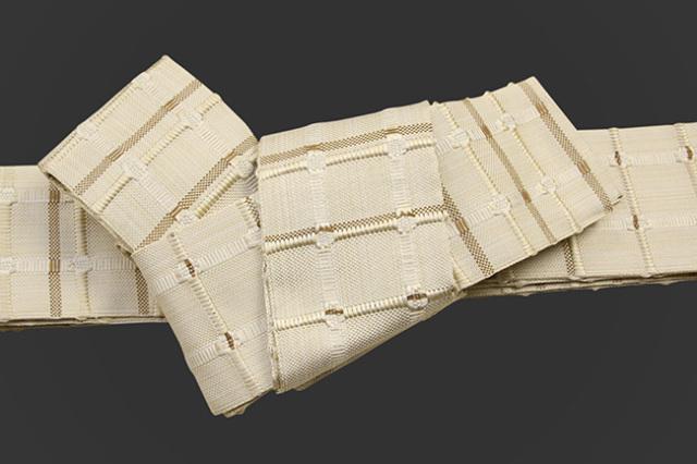 米沢織 近賢織物 角帯 紙格子角帯 アイボリー×黄土