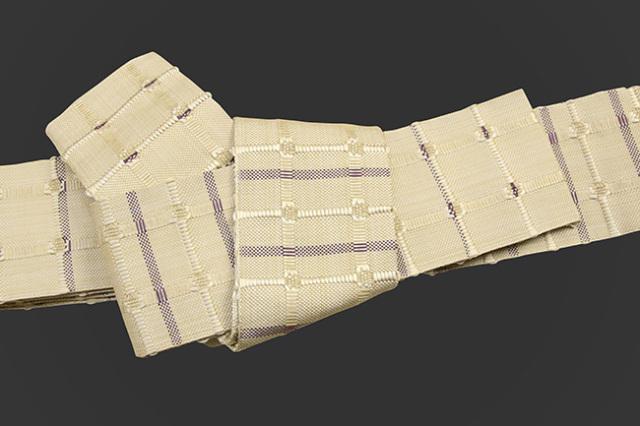 米沢織 近賢織物 角帯 紙格子角帯 ベージュ×紫