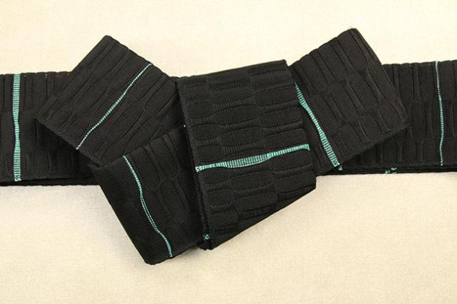 米沢織 近賢織物 角帯 苧麻角帯 黒×緑