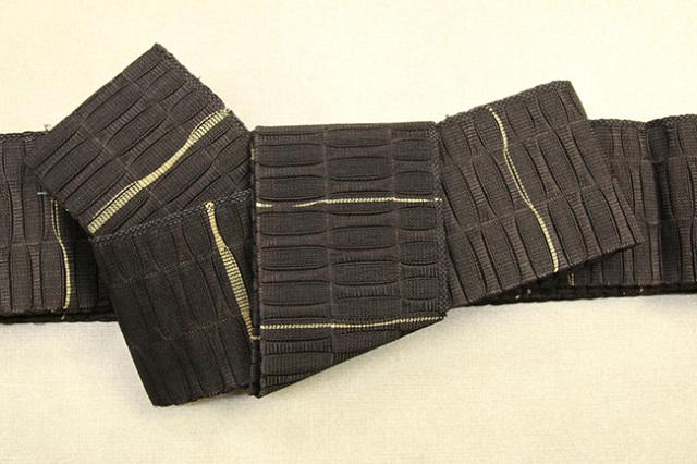 米沢織 近賢織物 角帯 苧麻角帯 茶×黄