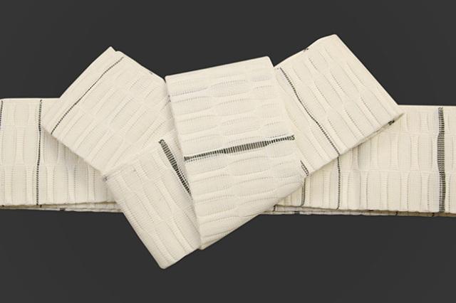 米沢織 近賢織物 角帯 苧麻角帯 白×濃緑