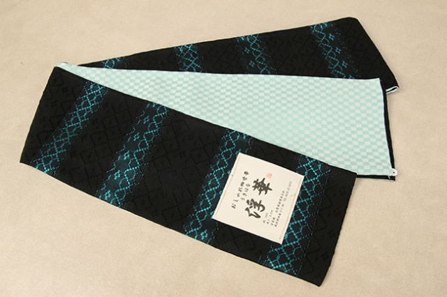 米沢織 近賢織物 半幅帯 浮華 リバーシブル 青緑×黒 市松水色