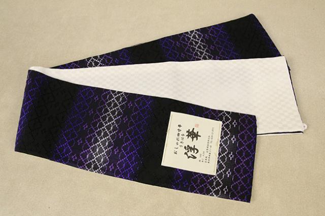 米沢織 近賢織物 半幅帯 浮華 リバーシブル 薄紫×紫×黒 市松アイボリー