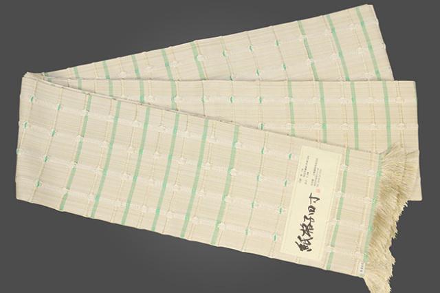 近賢織物 半幅帯 紙格子四寸 生成り色×黄緑