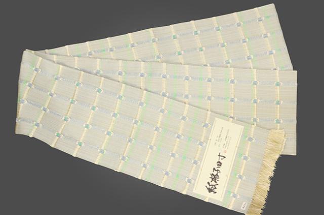 近賢織物 半幅帯 紙格子四寸 生成り色×青灰×黄緑
