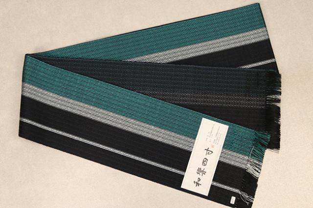 米沢織 近賢織物 半幅帯 和響四寸 黒×緑
