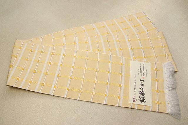 【あづまやオリジナル】米沢織 近賢織物 半幅帯 紙格子四寸 黄×白