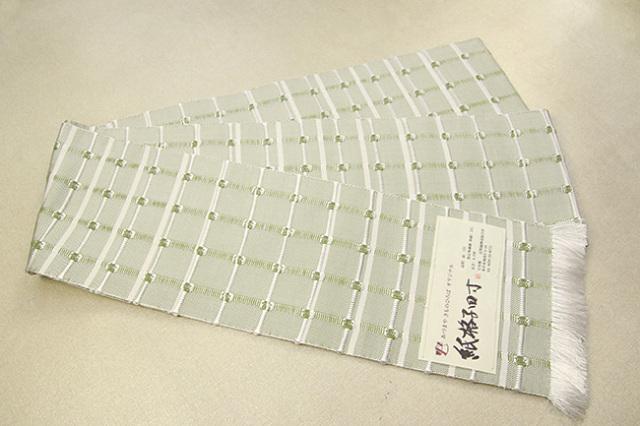 【あづまやオリジナル】米沢織 近賢織物 半幅帯 紙格子四寸 緑×白