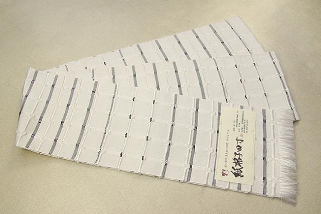 【あづまやオリジナル】米沢織 近賢織物 半幅帯 紙格子四寸  白×黒