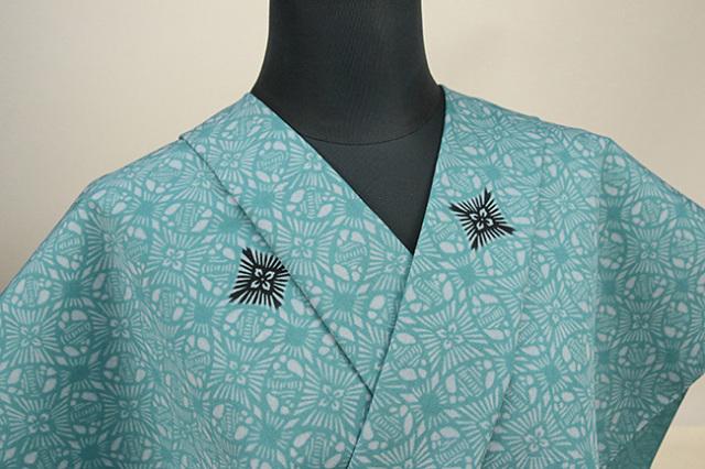 栗山工房 木綿着物 オーダーお仕立て付き 鳥だすき丸紋 青緑 ◆女性にオススメ◆