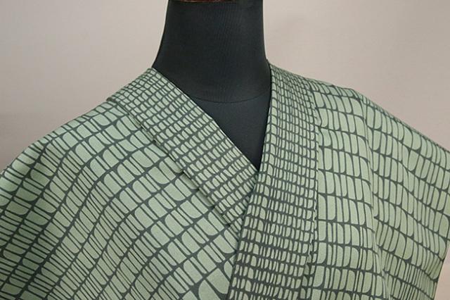 栗山工房 木綿着物 オーダーお仕立て付き 石畳風 緑 ◆女性にオススメ◆