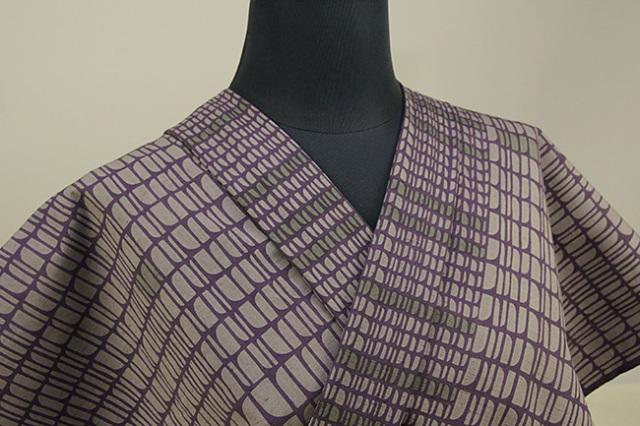 栗山工房 木綿着物 オーダーお仕立て付き 石畳風 紫 ◆女性にオススメ◆
