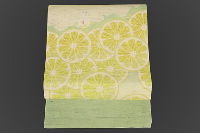 召しませ花 名古屋帯 白くま レモン 麻 黄×緑