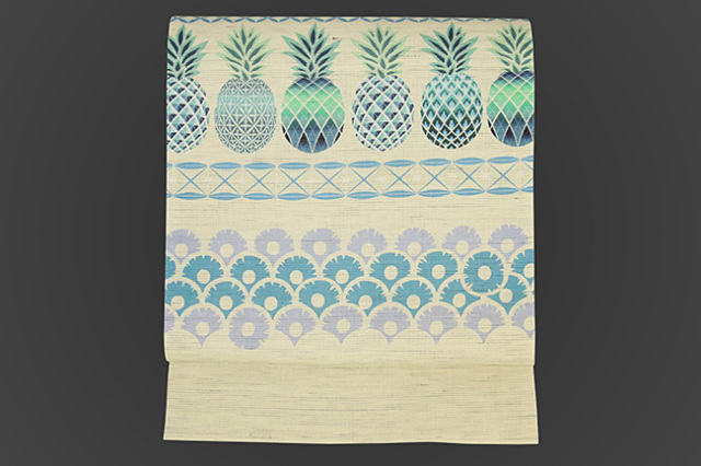京都小泉 召しませ花 名古屋帯 パイナップル 麻 白×青緑