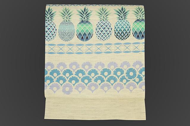 召しませ花 名古屋帯 パイナップル 麻 白×青緑
