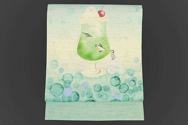 召しませ花 名古屋帯 白くま メロンソーダ 麻 白×青緑