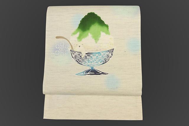 召しませ花 名古屋帯 白くま かき氷 麻 白×緑