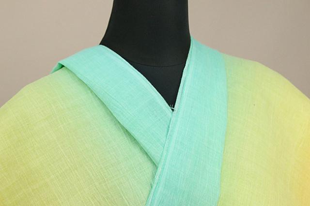 夏着物 近江ちぢみ 召しませ花 楊柳 オーダー仕立て付き グラデーション 青緑×黄