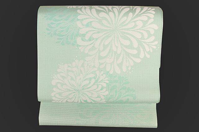 博多織 召しませ花 紋八寸名古屋帯 アガパンサス 薄青緑 お仕立て付き