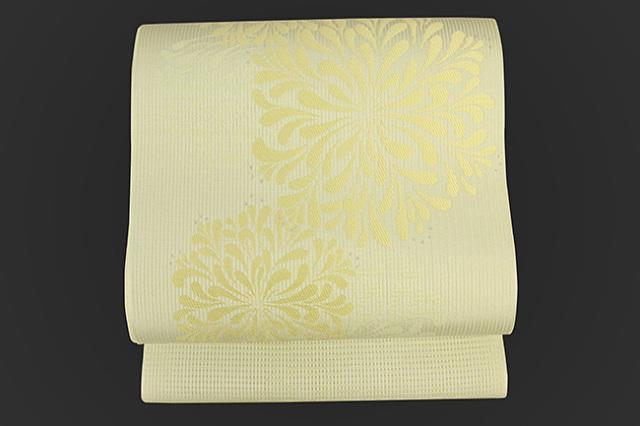 博多織 召しませ花 紋八寸名古屋帯 アガパンサス 薄黄緑 お仕立て付き