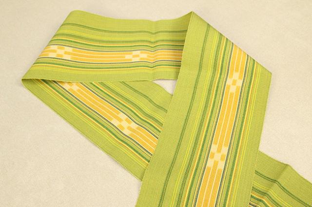ミンサー 木綿 半幅帯 八重山 沖縄 黄色×緑