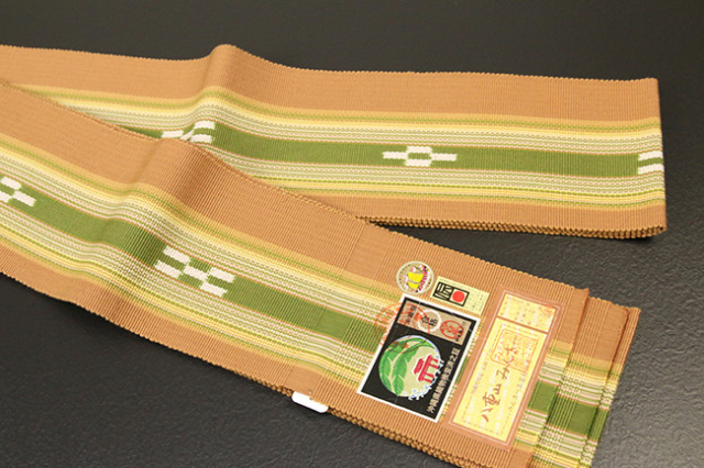 ミンサー 木綿 角帯 八重山 沖縄 橙×黄緑