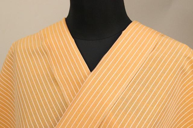 夏のKIPPE(きっぺ) 涼しま よねざわもめん 綿麻 オーダーお仕立て付き 橙 ◆男女兼用◆ 08