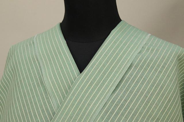 夏のKIPPE(きっぺ) 涼しま よねざわもめん 綿麻 オーダーお仕立て付き 薄緑 ◆男女兼用◆ 10