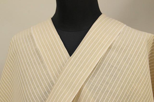 夏のKIPPE(きっぺ) 涼しま よねざわもめん 綿麻 オーダーお仕立て付き 薄ベージュ ◆男女兼用◆ 12
