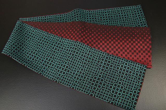 蔦屋久兵衛 絹麻両面半幅帯 丸紋 青緑×赤