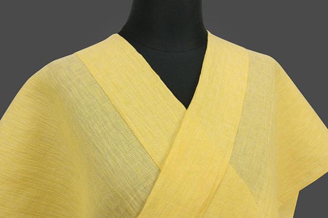 夏着物 小千谷ちぢみ 吉新織物 涼夏  楊柳 オーダー仕立て付き 黄