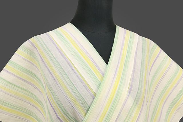 夏着物 小千谷ちぢみ 吉新織物 楊柳 オーダー仕立て付き ストライプ 黄×紫×緑