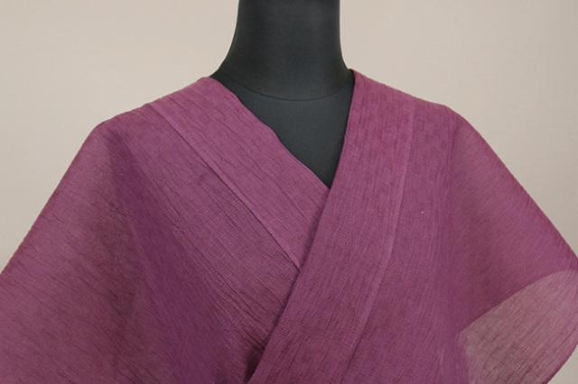 夏着物 小千谷ちぢみ 吉新織物 涼夏  楊柳 オーダー仕立て付き 赤紫