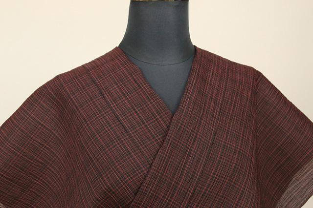 夏着物 小千谷ちぢみ 杉山織物  楊柳 オーダー仕立て付き 細ストライプ 赤×黒