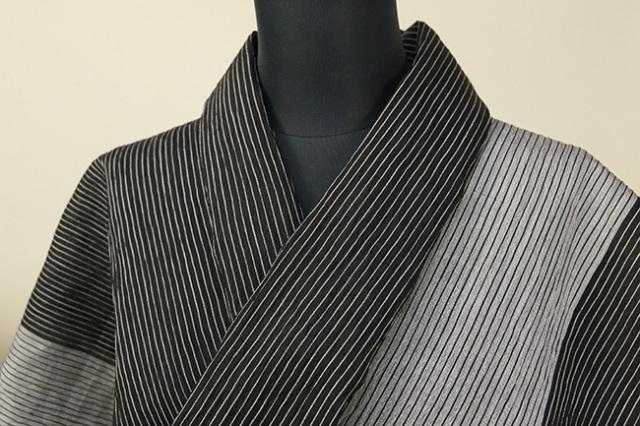 夏着物 小千谷ちぢみ 杉山織物 楊柳 オーダー仕立て付き ツートーン ストライプ 黒×灰