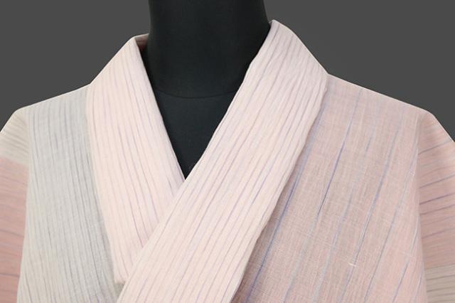 夏着物 小千谷ちぢみ 吉新織物 楊柳 オーダー仕立て付き ツートーン かすり 桃×白