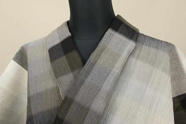 夏着物 小千谷ちぢみ 杉山織物 楊柳 オーダー仕立て付き ツートーン 縞 灰×濃灰