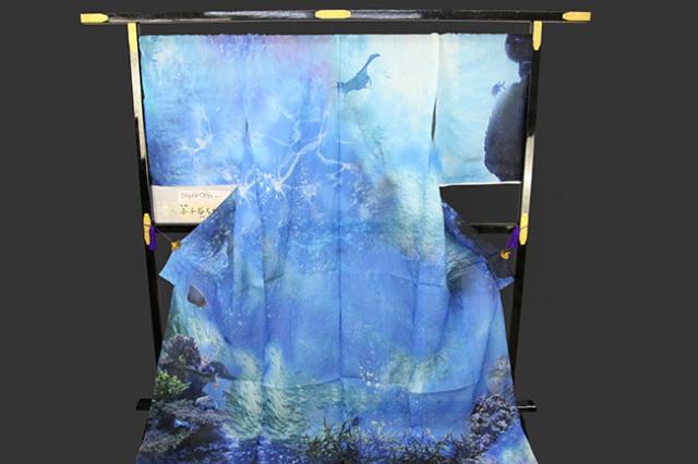夏着物 デジタル小千谷 小千谷ちぢみ 杉山織物 楊柳 オーダー仕立て付き アクアリウム