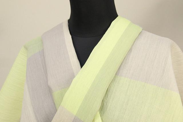 夏着物 小千谷ちぢみ 吉新織物 楊柳 オーダー仕立て付き チェック 黄緑×灰