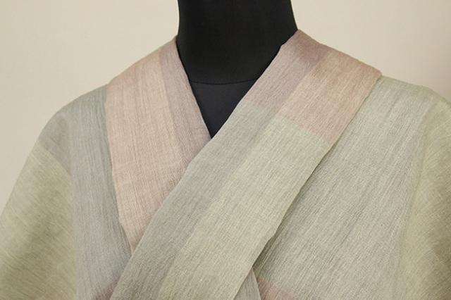 夏着物 小千谷ちぢみ 吉新織物 楊柳 オーダー仕立て付き チェック 深緑×茶