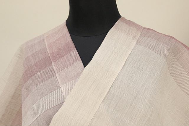 夏着物 小千谷ちぢみ 吉新織物 楊柳 オーダー仕立て付き 細ストライプ 赤紫×灰